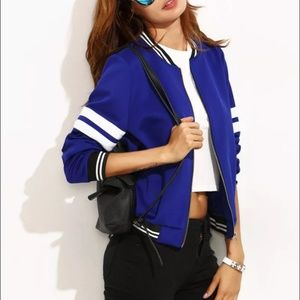 Shein blue varsity striped  jacket (S) *Brand New*